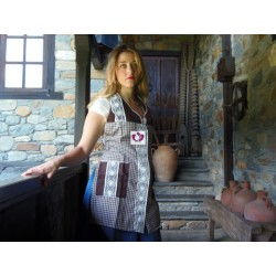 GINGHAM APRON BROWN OYA