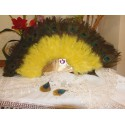 YELLOW FAN WITH FEATHERS