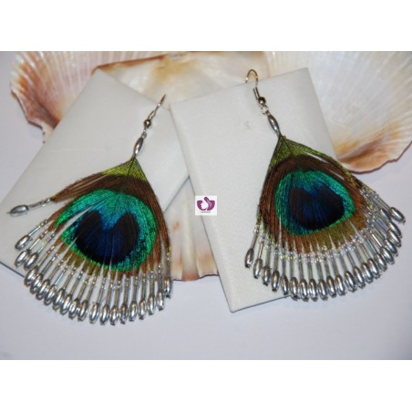 GOLDEN LITMUS EARRINGS PEACOCK FEATHERS