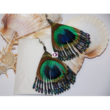 PLATED EARRINGS PEACOCK FEATHERS