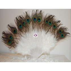 WHITE FAN WITH FEATHERS